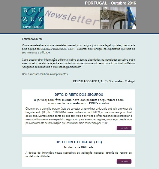 Newsletter Portugal - Outubro 2016