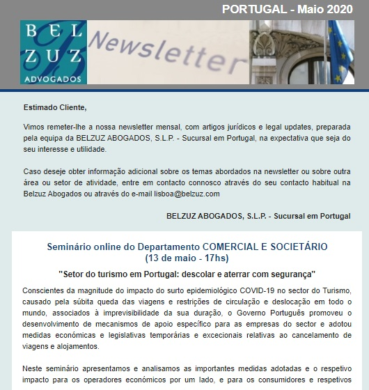 Newsletter Portugal - Maio